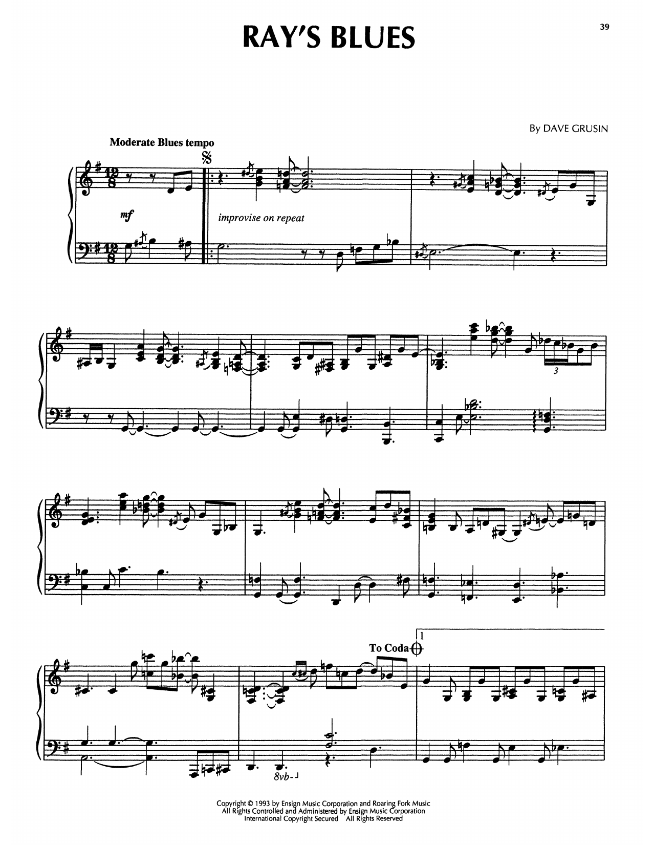 Dave Grusin Ray's Blues (from The Firm) sheet music notes printable PDF score