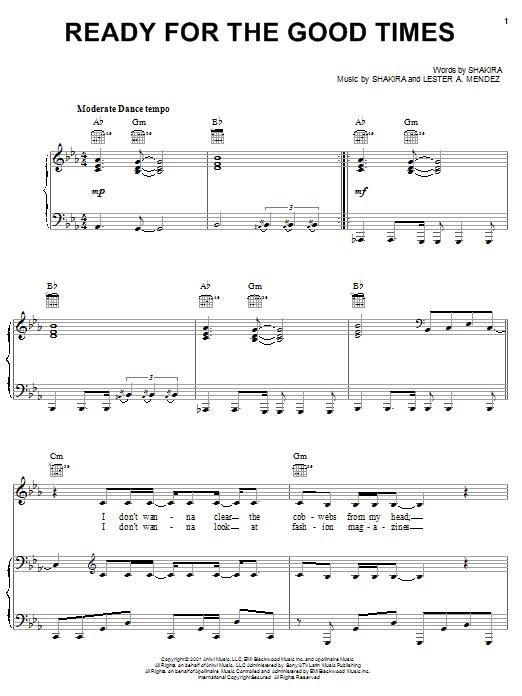 Shakira Ready For The Good Times sheet music notes printable PDF score