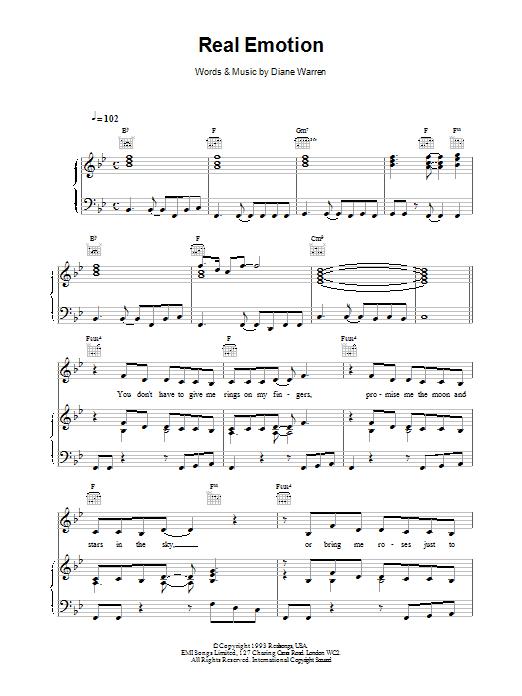 Celine Dion Real Emotion sheet music notes printable PDF score