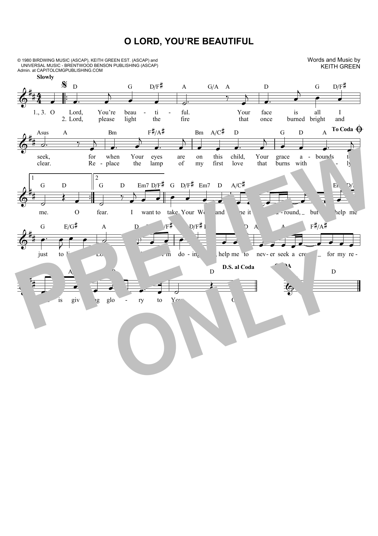 Rebecca St. James O Lord, You're Beautiful sheet music notes and chords. Download Printable PDF.