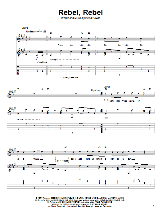David Bowie Rebel, Rebel sheet music notes printable PDF score