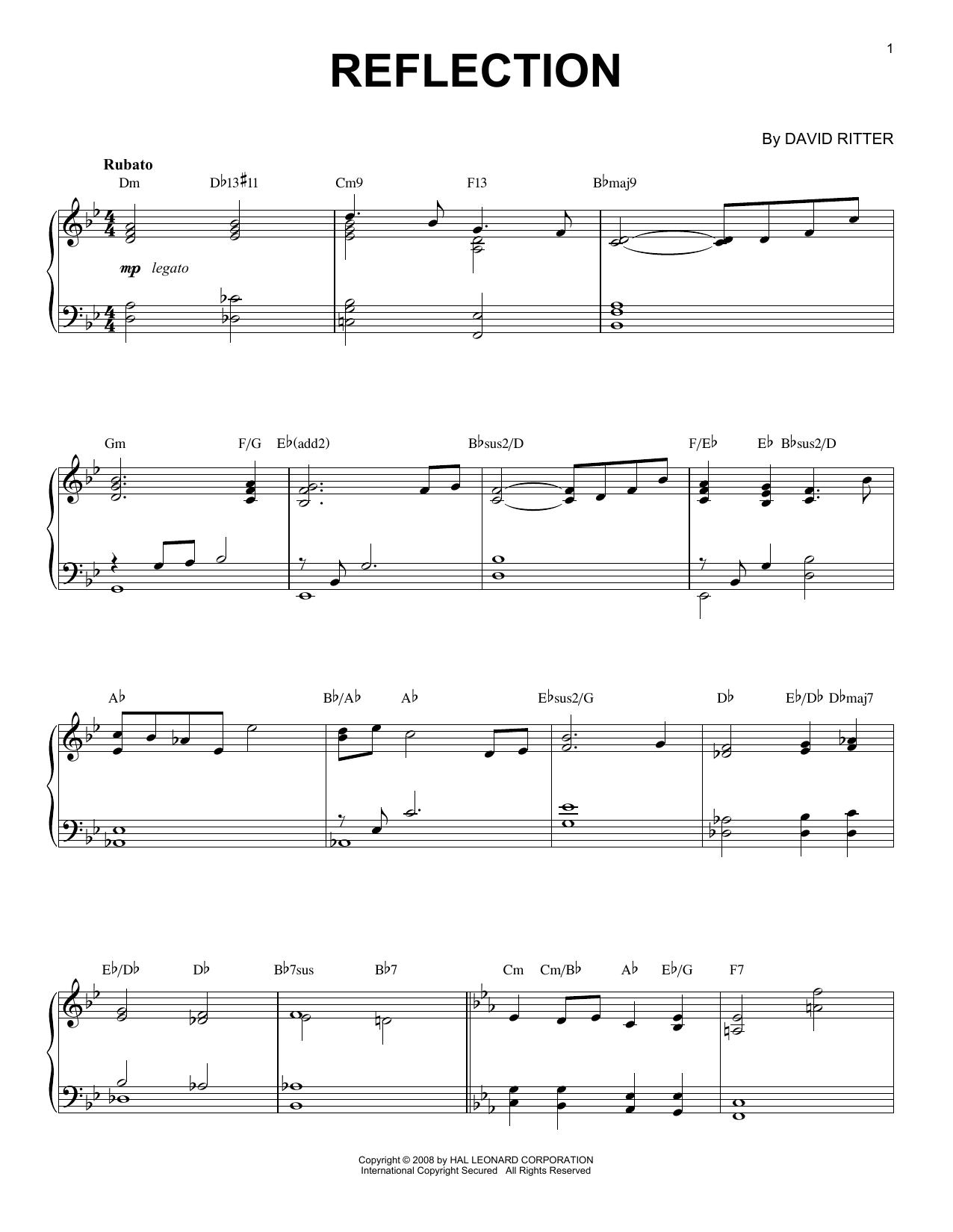 David Ritter Reflection sheet music notes printable PDF score