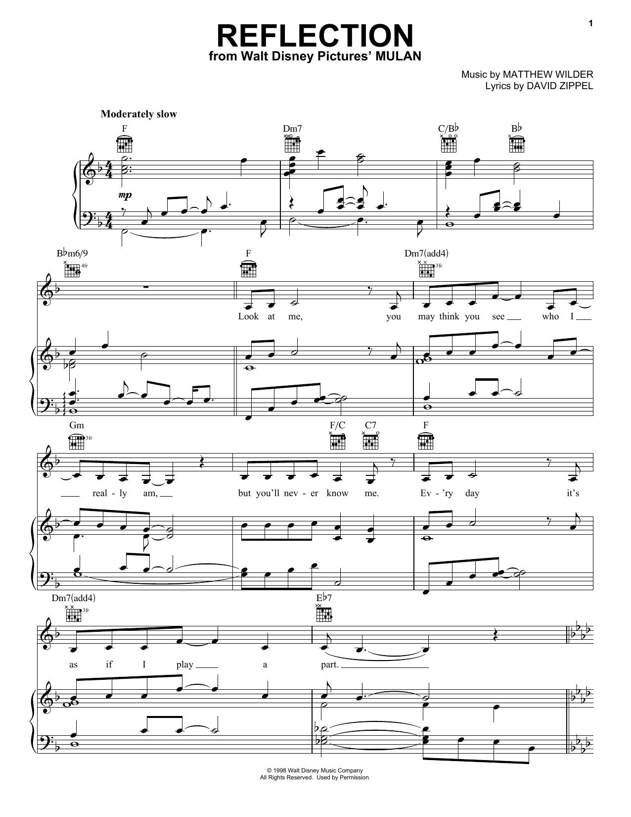 Christina Aguilera Reflection (Pop Version) (from Mulan) sheet music notes printable PDF score
