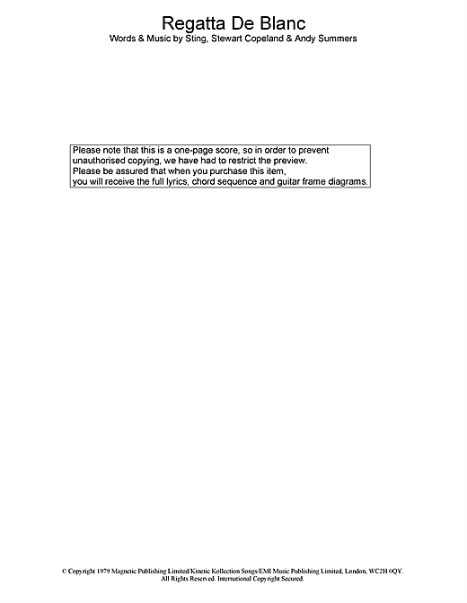 The Police Regatta De Blanc sheet music notes printable PDF score