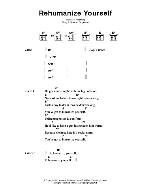 The Police Rehumanize Yourself sheet music notes printable PDF score