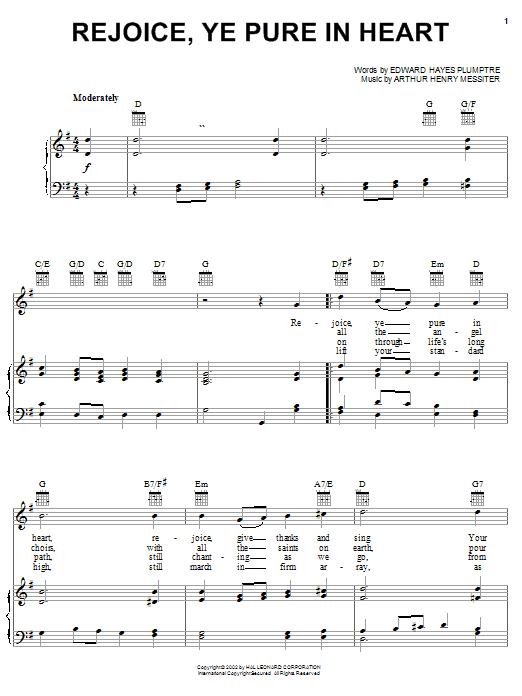 Arthur Henry Messiter Rejoice, Ye Pure In Heart sheet music notes printable PDF score