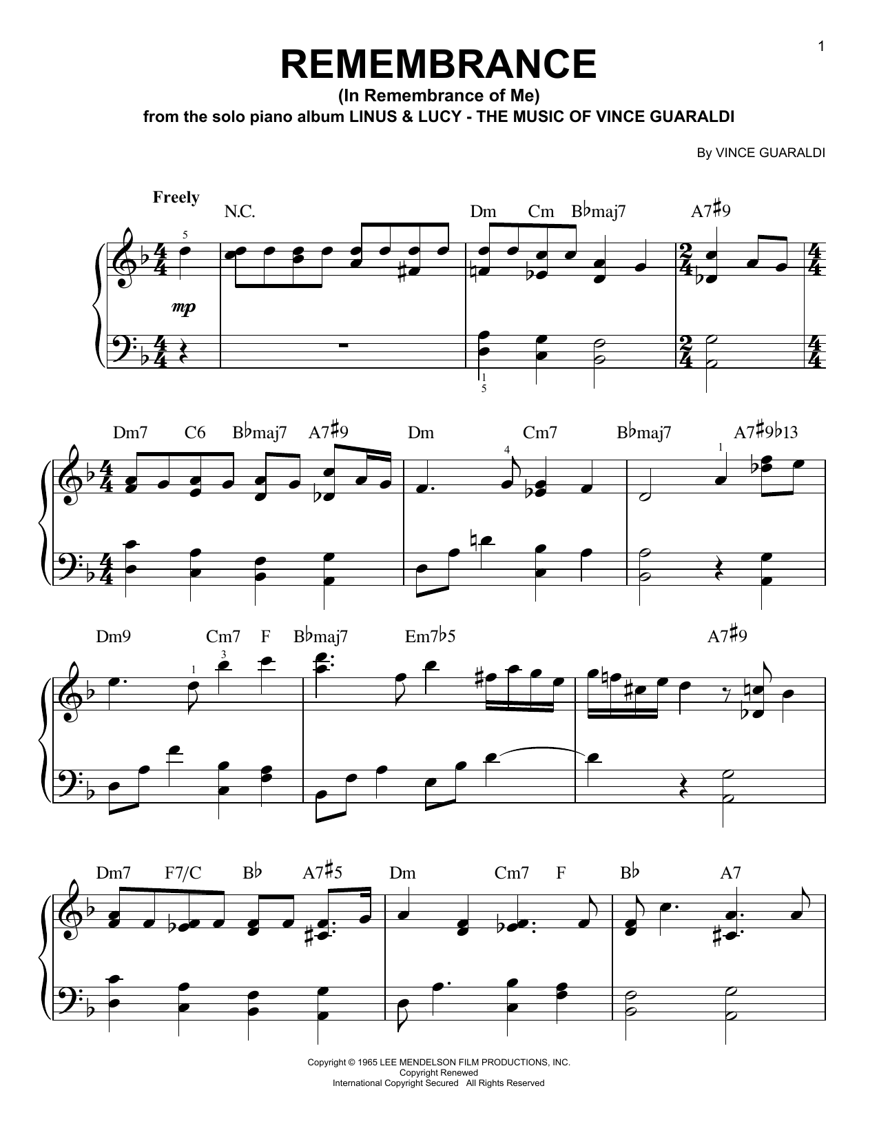 George Winston Remembrance (In Remembrance Of Me) sheet music notes printable PDF score