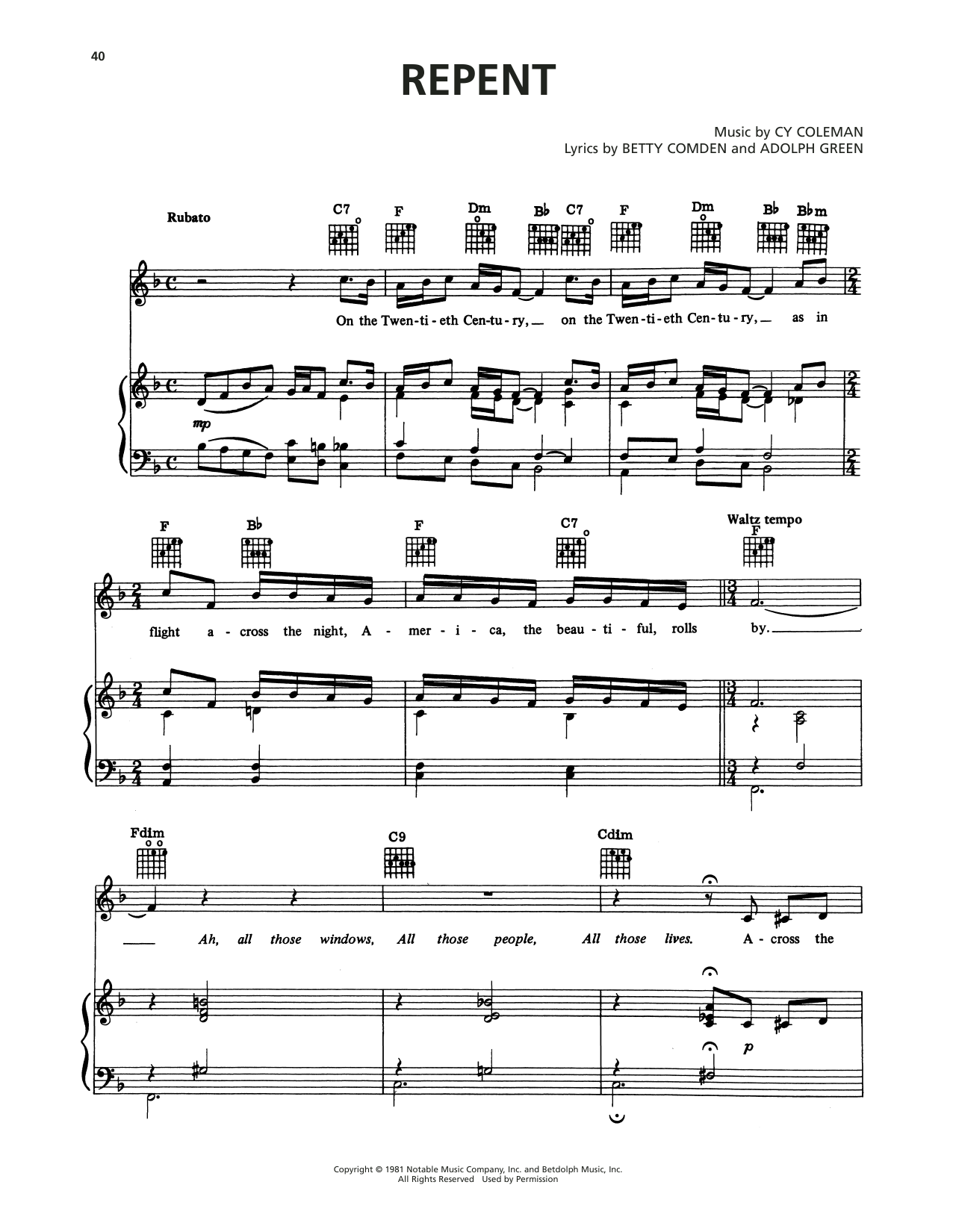 Cy Coleman Repent (from On The Twentieth Century) sheet music notes printable PDF score