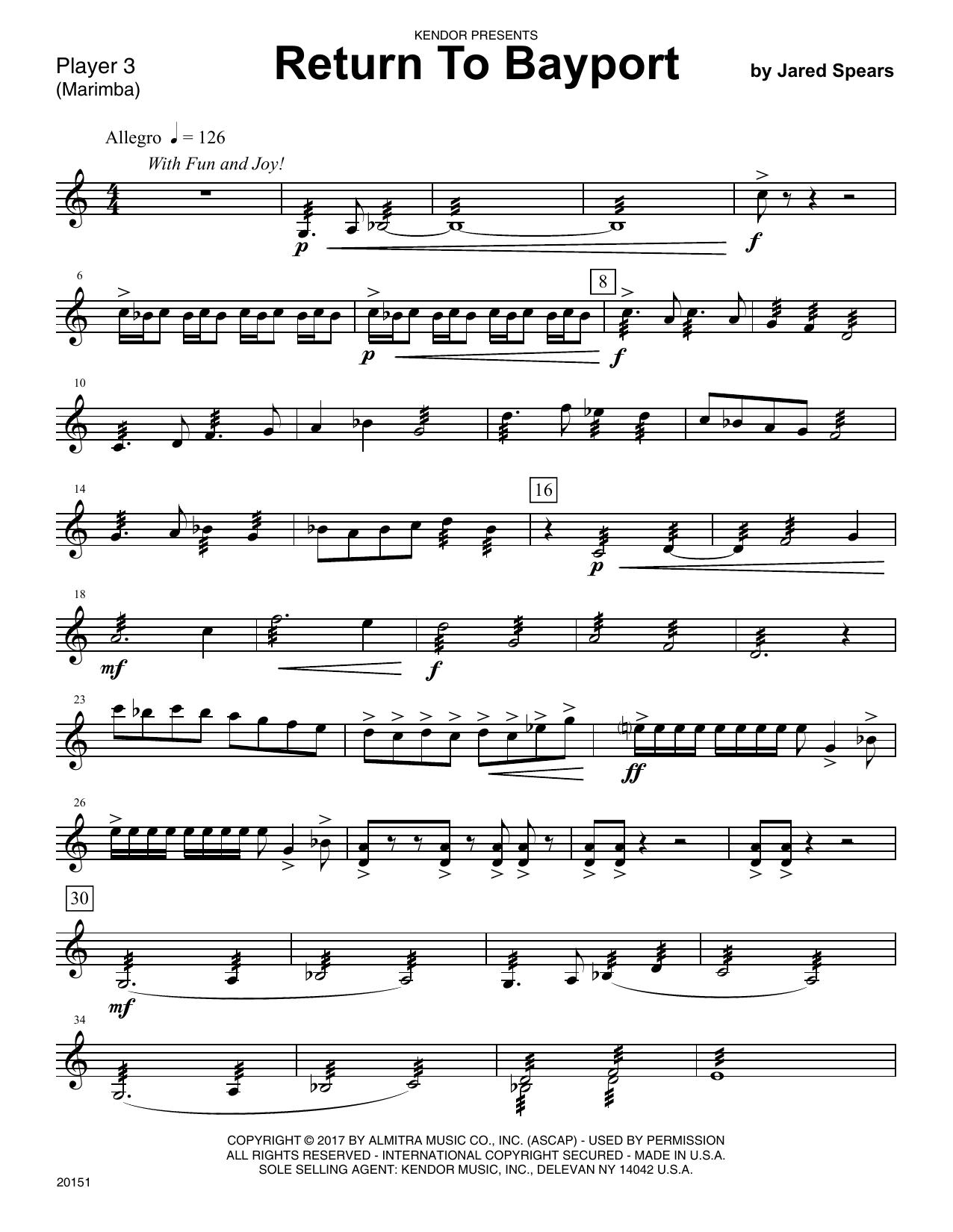 Jared Speears Return To Bayport - Percussion 3 sheet music notes printable PDF score