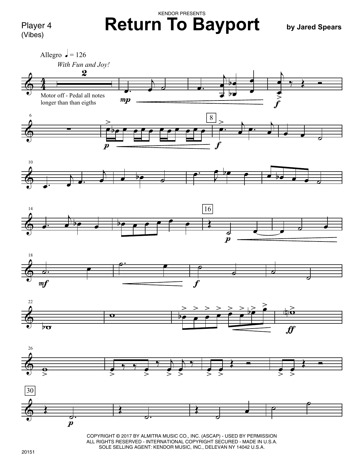 Jared Speears Return To Bayport - Percussion 4 sheet music notes printable PDF score