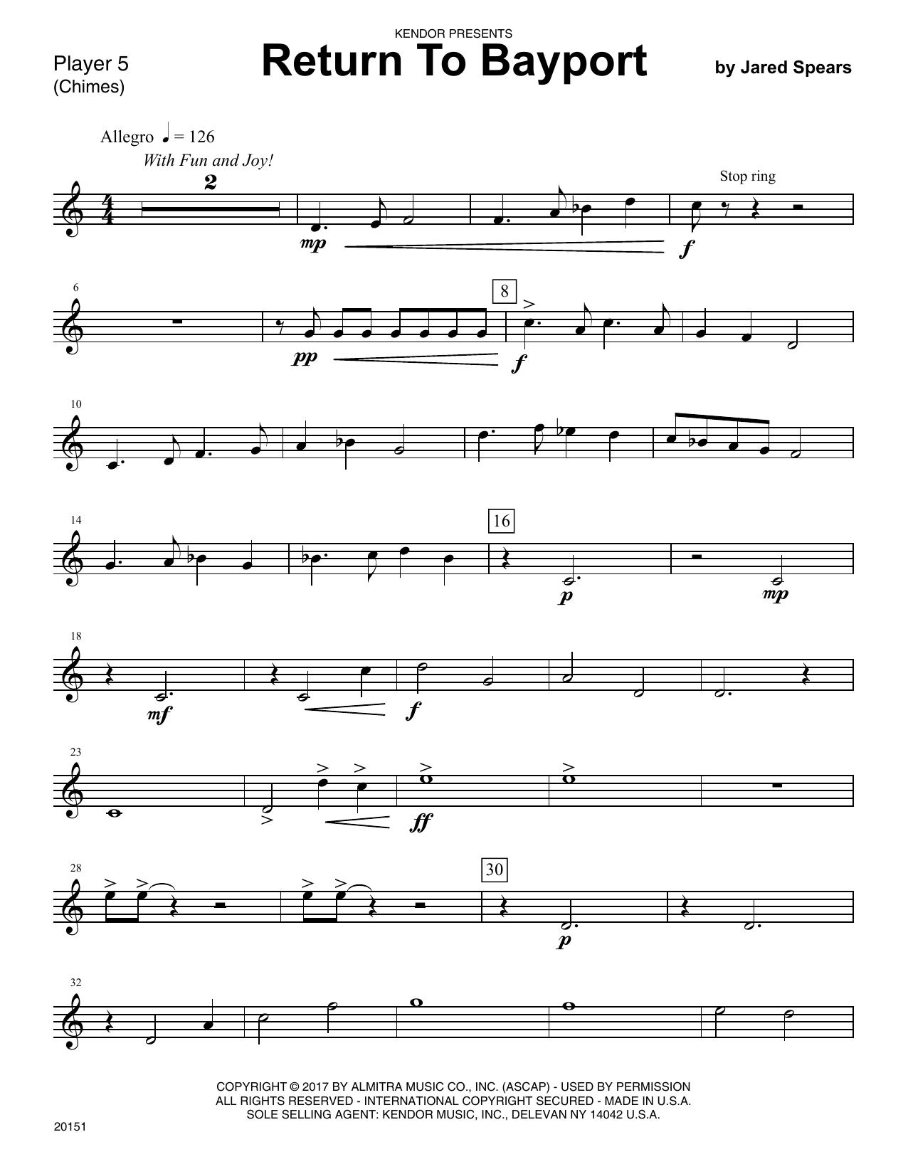 Jared Speears Return To Bayport - Percussion 5 sheet music notes printable PDF score