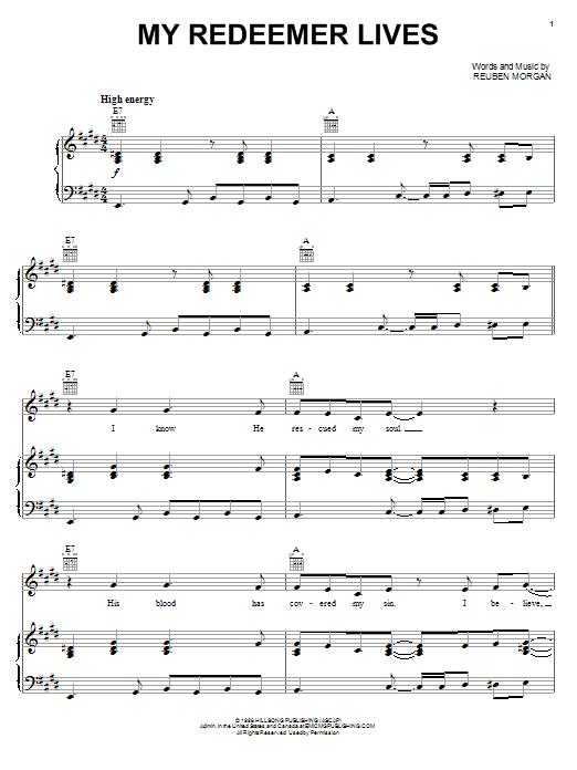 Reuben Morgan My Redeemer Lives sheet music notes and chords. Download Printable PDF.
