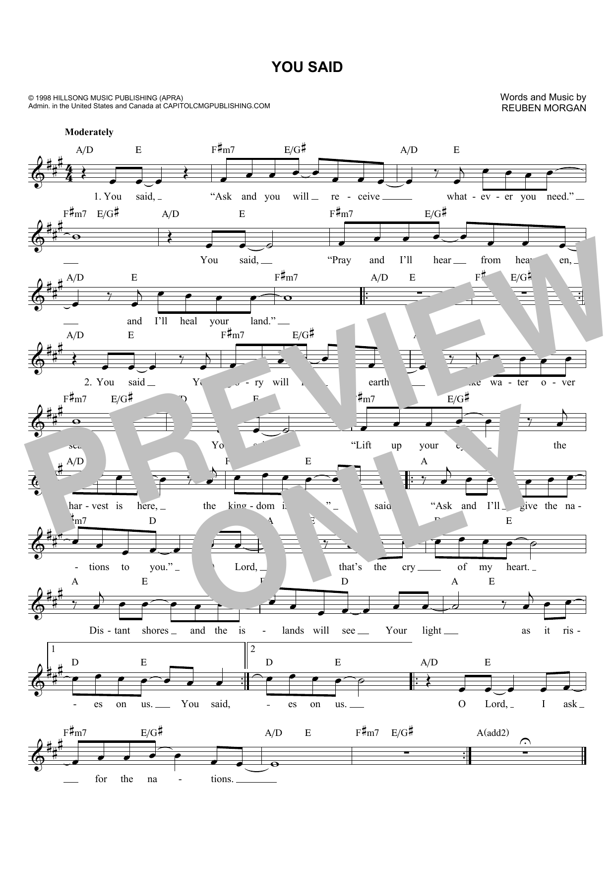 Reuben Morgan You Said sheet music notes and chords. Download Printable PDF.