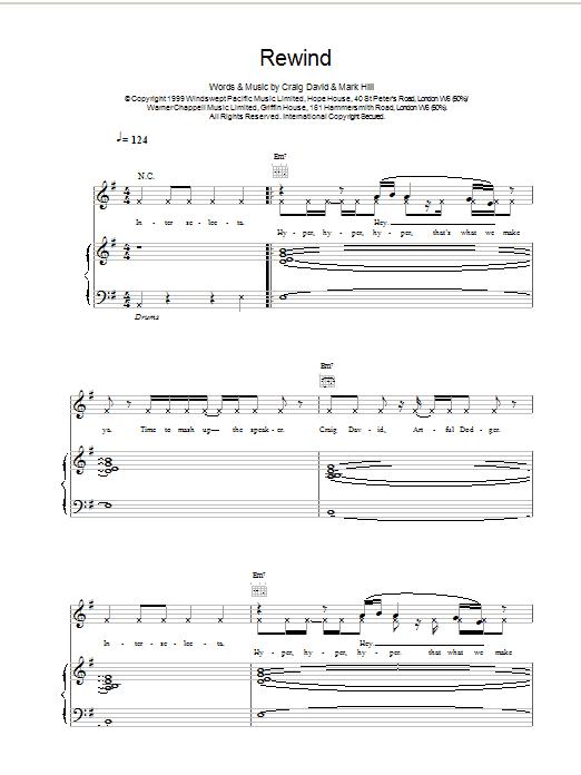 Craig David Rewind sheet music notes printable PDF score