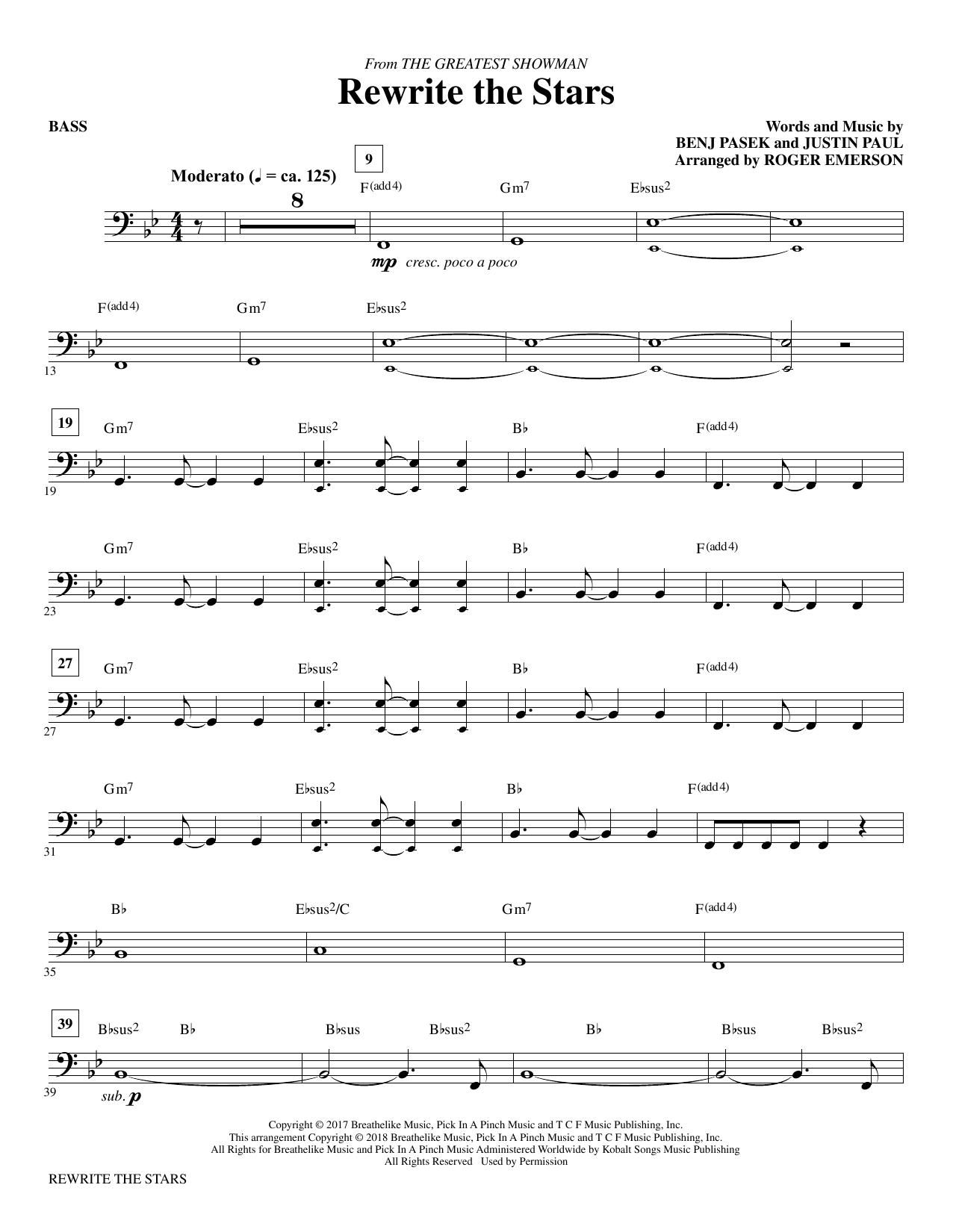 Pasek & Paul Rewrite The Stars (arr. Roger Emerson) - Bass sheet music notes printable PDF score