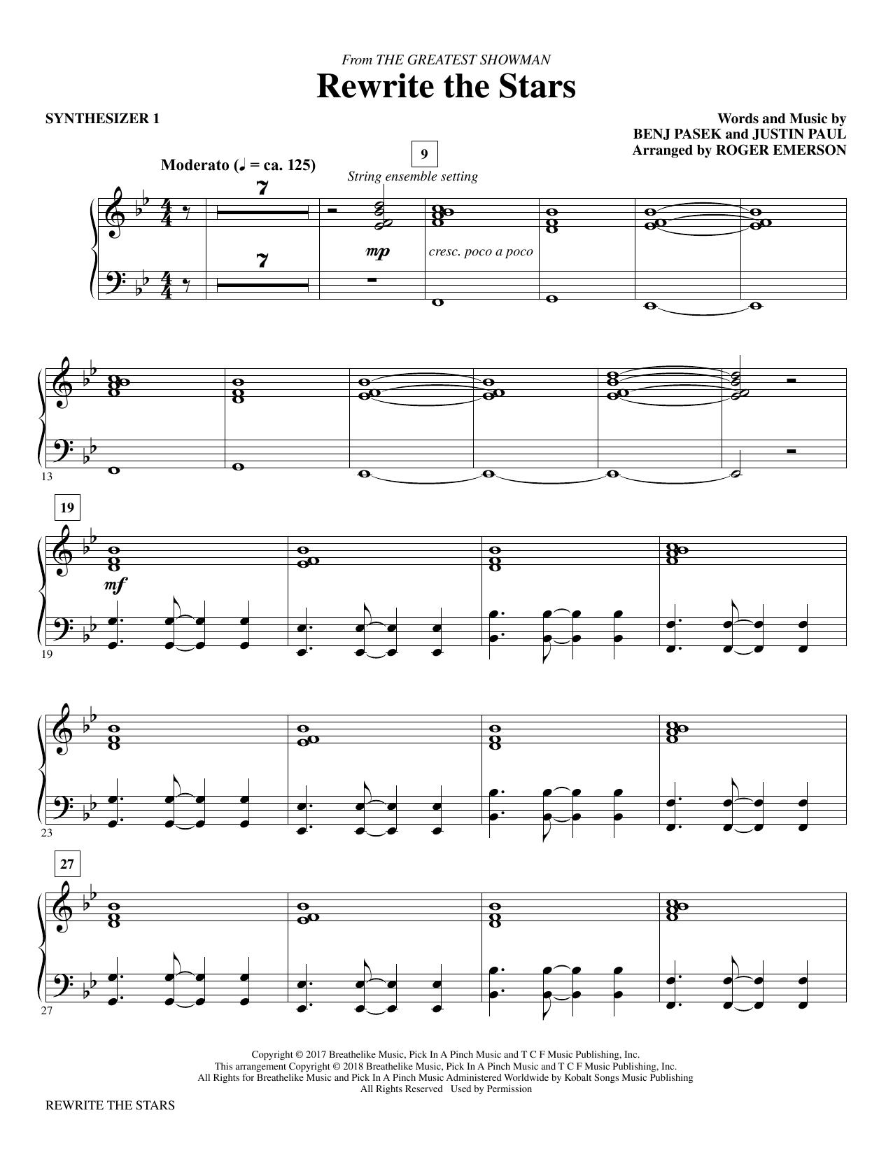 Pasek & Paul Rewrite The Stars (arr. Roger Emerson) - Synthesizer I sheet music notes printable PDF score