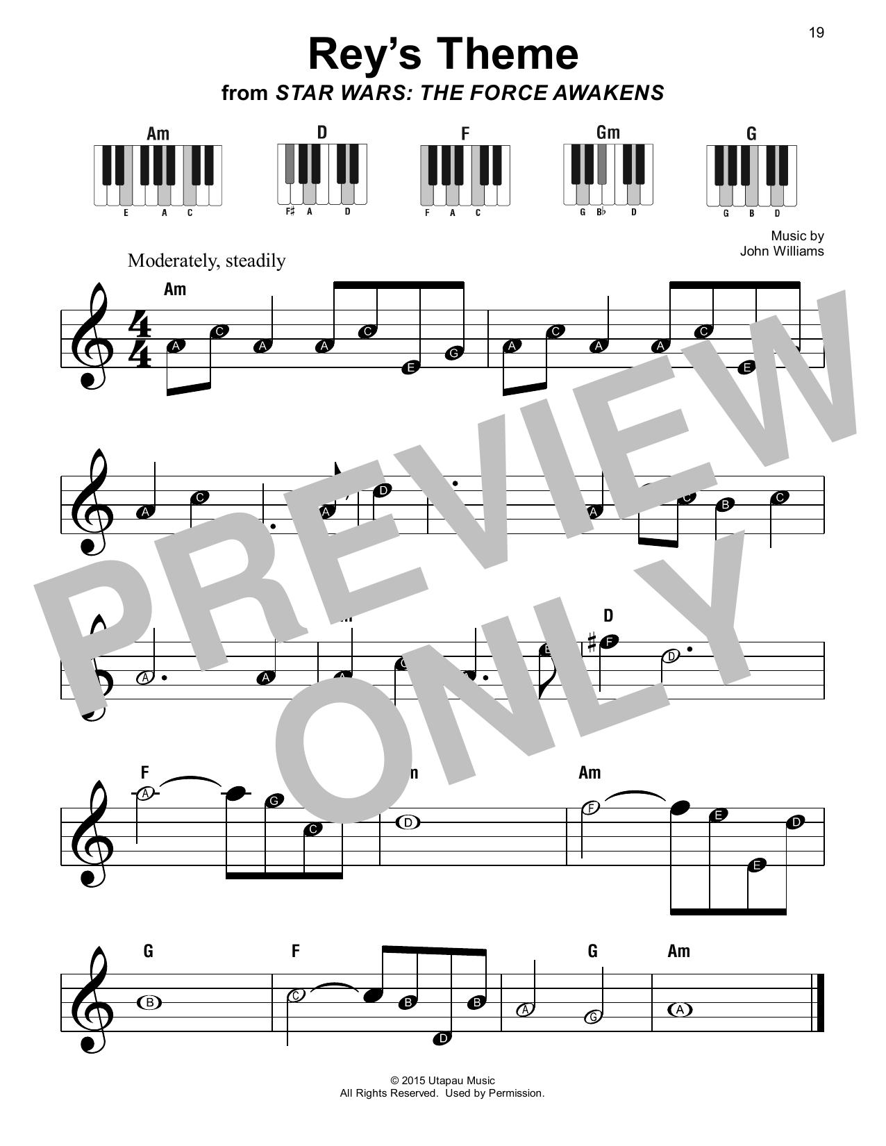 John Williams Rey's Theme (from Star Wars: The Force Awakens) sheet music notes printable PDF score
