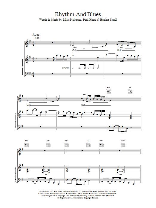 M People Rhythm And Blues sheet music notes printable PDF score