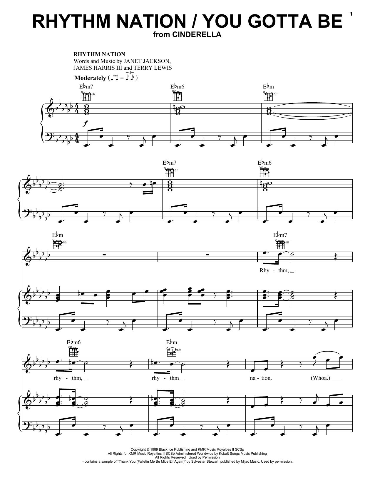 Camila Cabello and Idina Menzel Rhythm Nation / You Gotta Be (from the Amazon Original Movie Cinderella) sheet music notes printable PDF score
