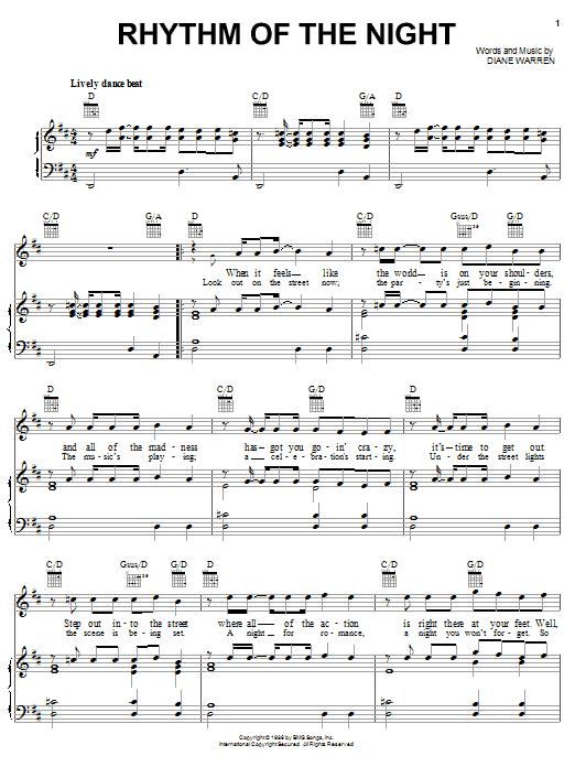 DeBarge Rhythm Of The Night sheet music notes printable PDF score