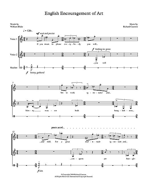 Richard Causton English Encouragement of Art (for soprano, mezzo-soprano & percussion) sheet music notes printable PDF score