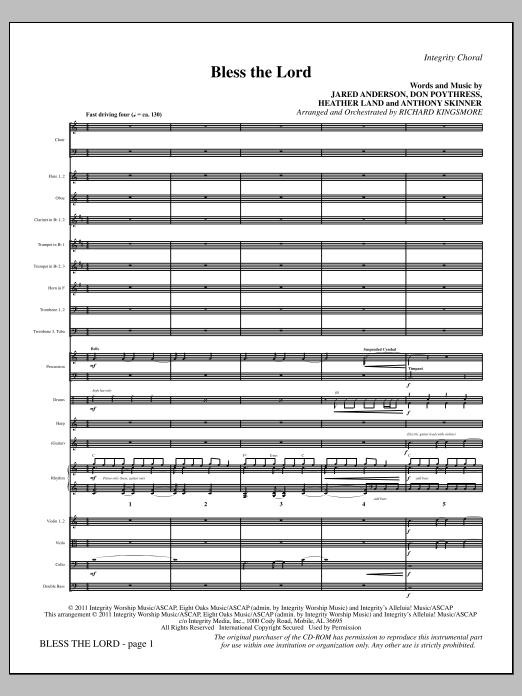 Richard Kingsmore Bless The Lord - Full Score sheet music notes printable PDF score
