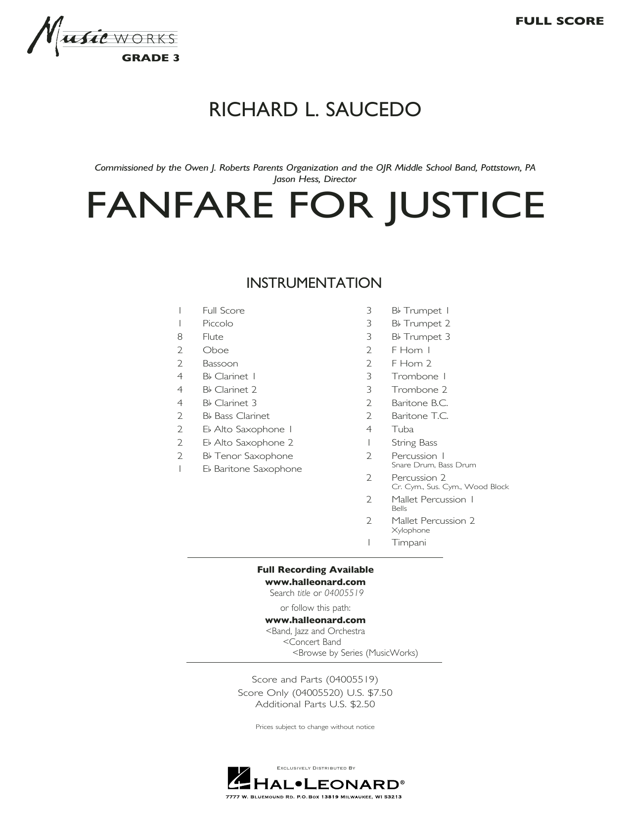 Richard L. Saucedo Fanfare for Justice - Conductor Score (Full Score) sheet music notes and chords. Download Printable PDF.