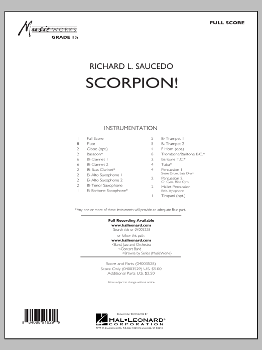 Richard L. Saucedo Scorpion! - Conductor Score (Full Score) sheet music notes and chords. Download Printable PDF.