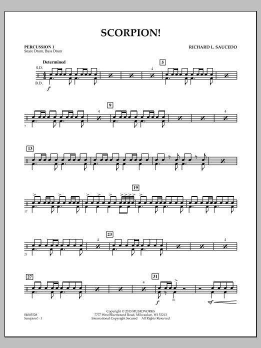 Richard L. Saucedo Scorpion! - Percussion 1 sheet music notes and chords. Download Printable PDF.