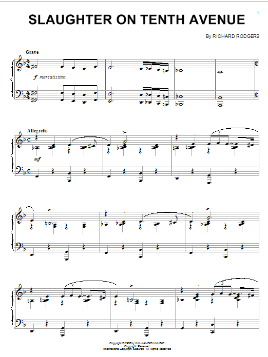 Richard Rodgers Slaughter On Tenth Avenue sheet music notes and chords. Download Printable PDF.