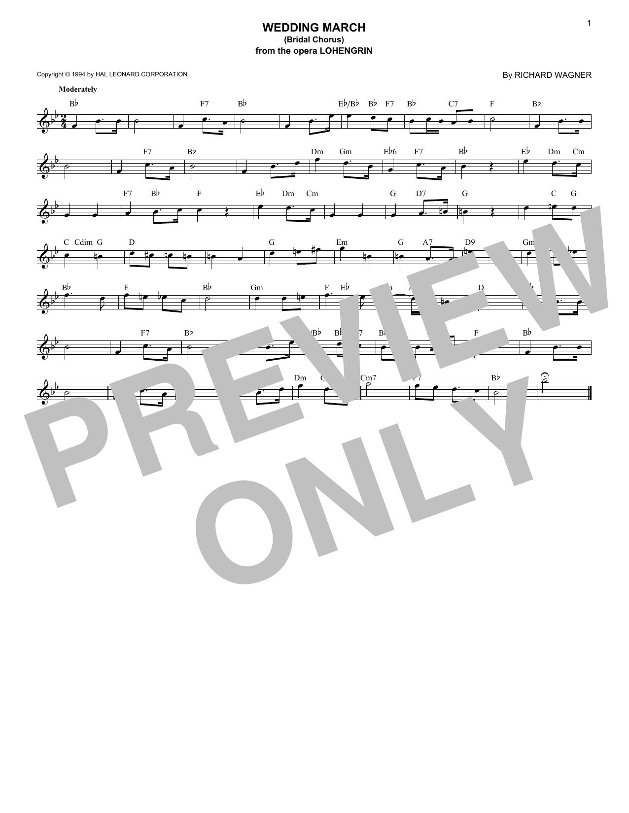 Richard Wagner Wedding March (Bridal Chorus) sheet music notes and chords - download printable PDF.