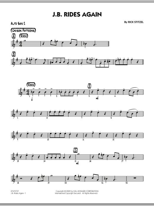 Rick Stitzel J.B. Rides Again - Alto Sax 2 sheet music notes and chords. Download Printable PDF.