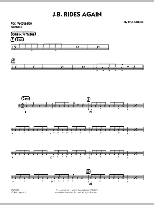 Rick Stitzel J.B. Rides Again - Aux Percussion sheet music notes and chords. Download Printable PDF.