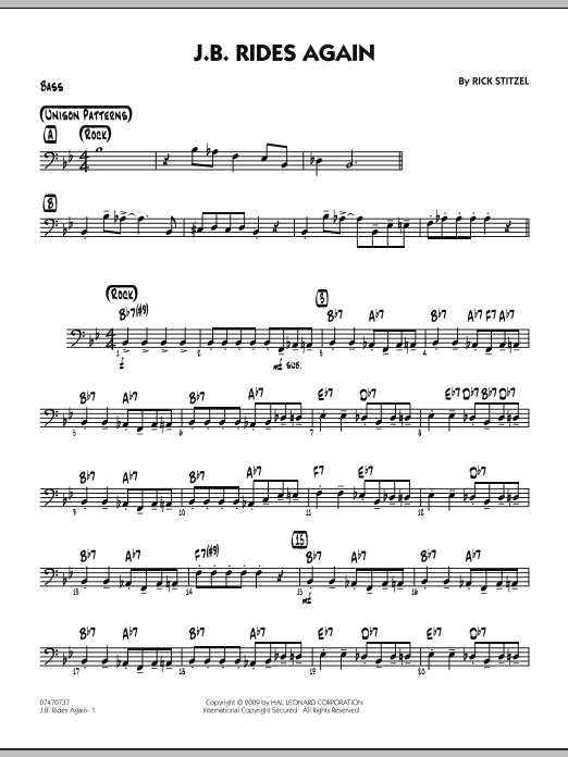 Rick Stitzel J.B. Rides Again - Bass sheet music notes and chords. Download Printable PDF.
