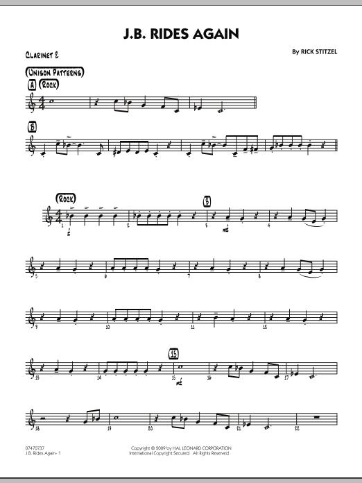 Rick Stitzel J.B. Rides Again - Bb Clarinet 2 sheet music notes and chords. Download Printable PDF.