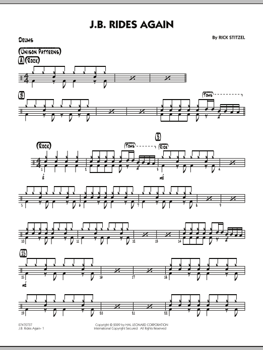 Rick Stitzel J.B. Rides Again - Drums sheet music notes and chords. Download Printable PDF.