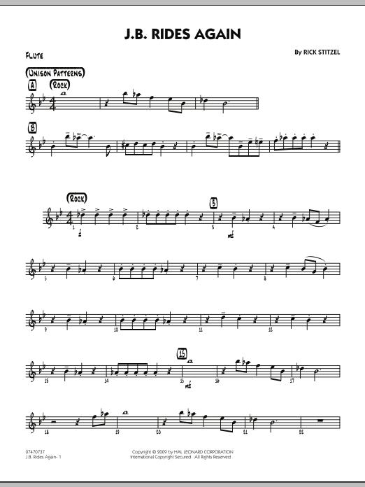 Rick Stitzel J.B. Rides Again - Flute sheet music notes and chords. Download Printable PDF.