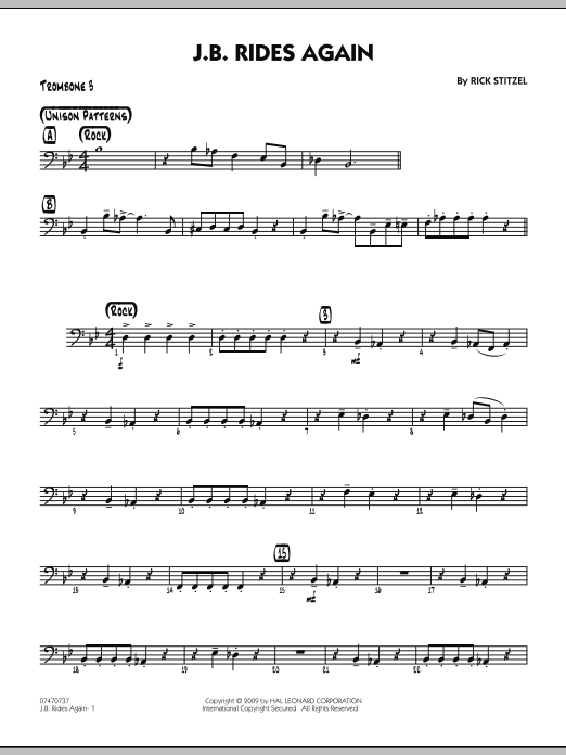 Rick Stitzel J.B. Rides Again - Trombone 3 sheet music notes and chords. Download Printable PDF.