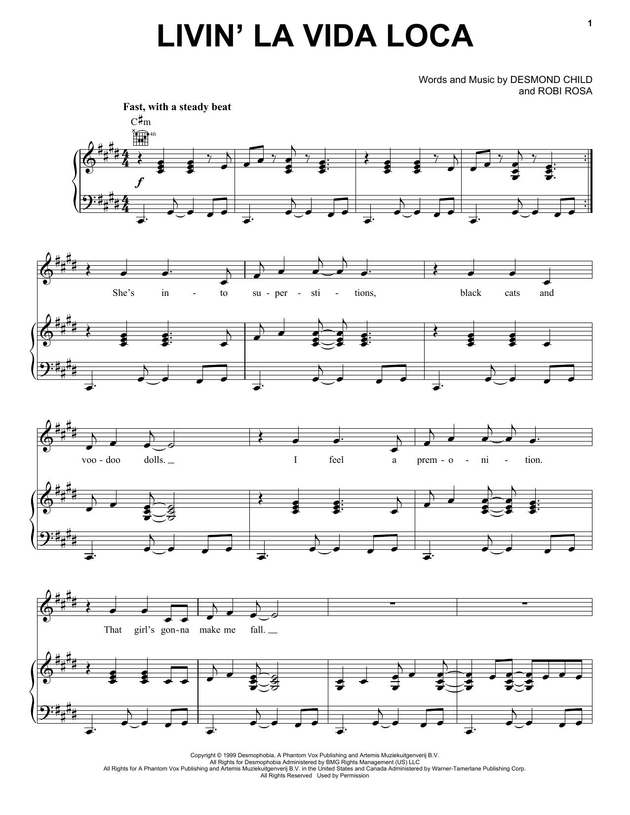 Ricky Martin Livin' La Vida Loca sheet music notes printable PDF score