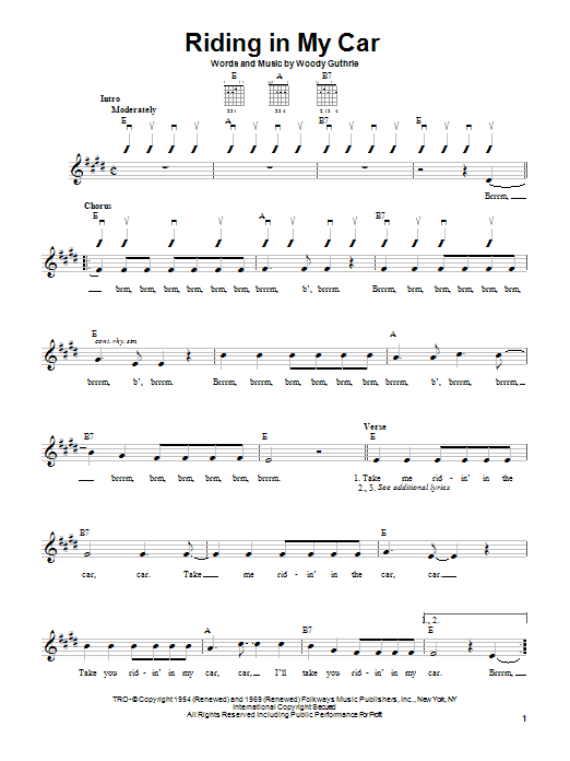 Woody Guthrie Riding In My Car sheet music notes printable PDF score