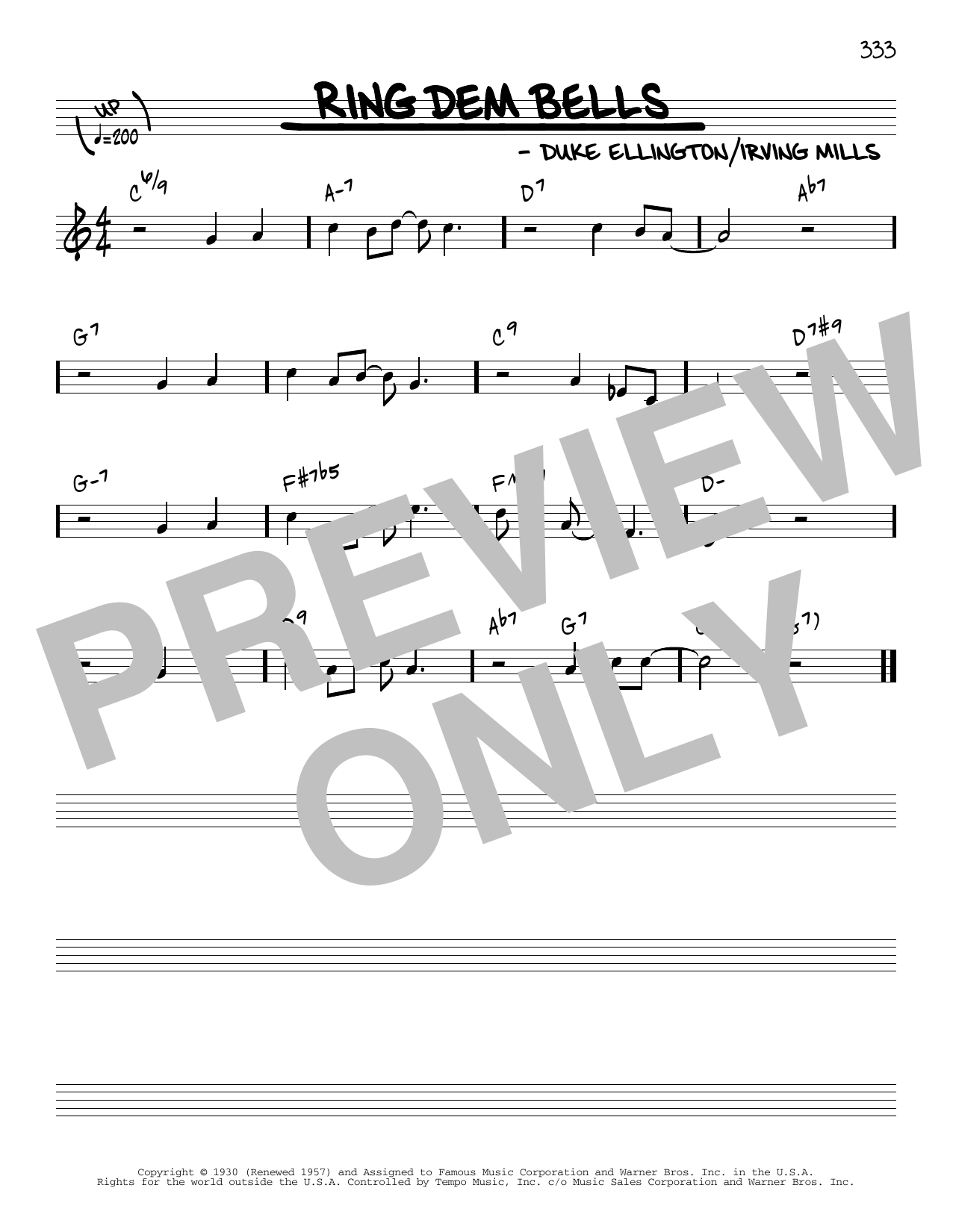 Duke Ellington Ring Dem Bells [Reharmonized version] (arr. Jack Grassel) sheet music notes printable PDF score