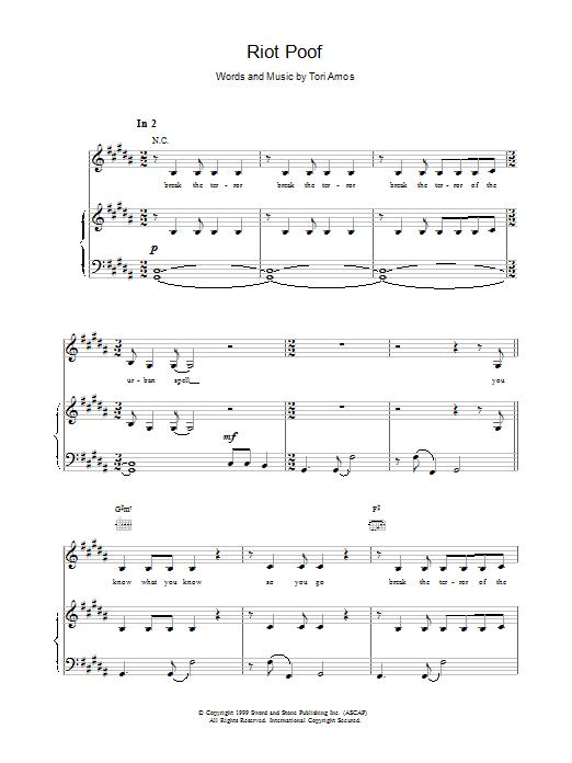 Tori Amos Riot Poof sheet music notes printable PDF score