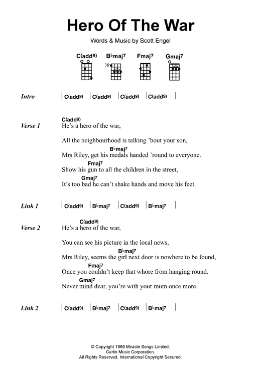 Rise Against Hero Of The War sheet music notes and chords. Download Printable PDF.