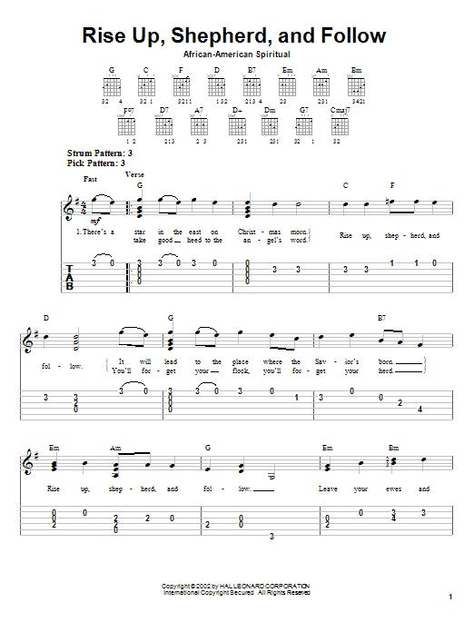 African-American Spiritual Rise Up, Shepherd, And Follow sheet music notes printable PDF score