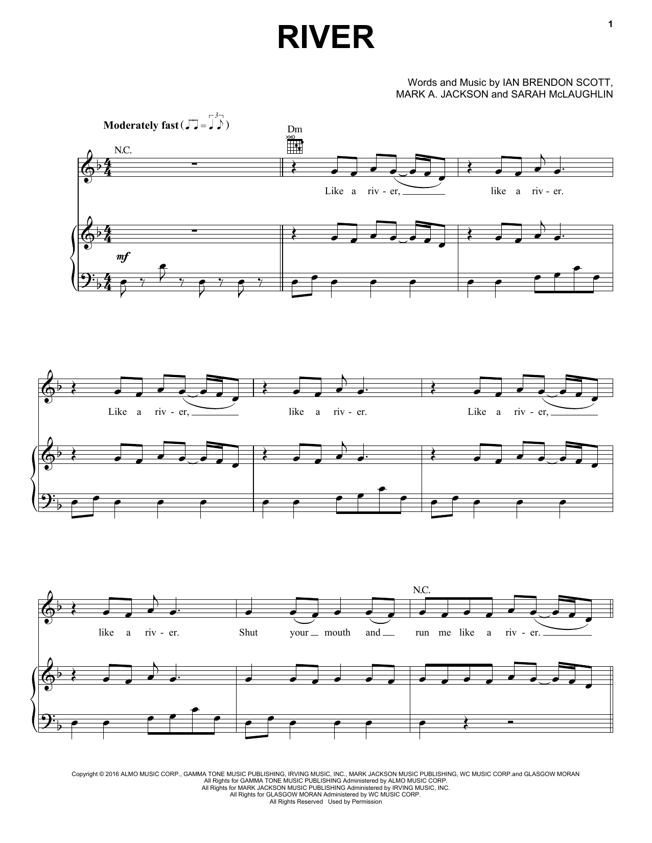 Bishop Briggs River sheet music notes printable PDF score