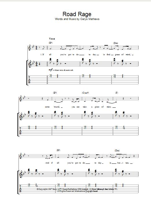 Catatonia Road Rage sheet music notes printable PDF score