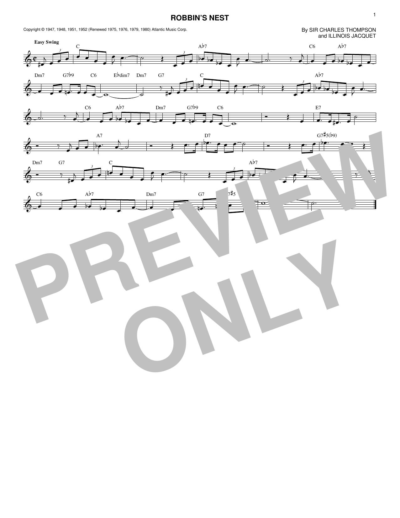 Ella Fitzgerald & Count Basie Robbins Nest sheet music notes printable PDF score