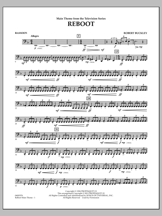 Robert Buckley Reboot - Bassoon sheet music notes and chords. Download Printable PDF.