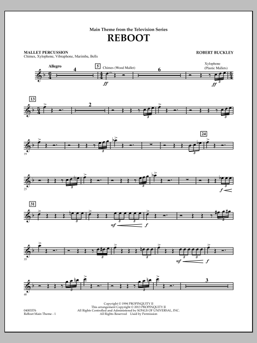 Robert Buckley Reboot - Mallet Percussion sheet music notes and chords. Download Printable PDF.