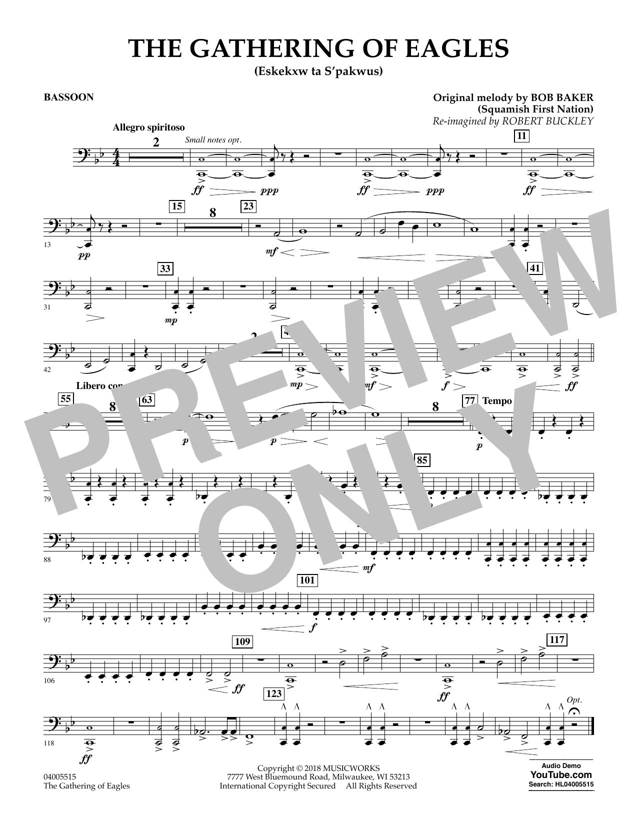 Robert Buckley The Gathering of Eagles - Bassoon sheet music notes and chords. Download Printable PDF.
